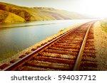 Summer Landscape. Railway ...