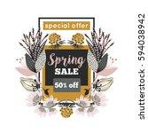spring sale. special offer.... | Shutterstock .eps vector #594038942
