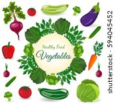 healthy vegetables and... | Shutterstock . vector #594045452