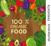 fresh organic food.set of... | Shutterstock . vector #594045476
