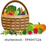 basket with vegetables isolated ... | Shutterstock . vector #594047126