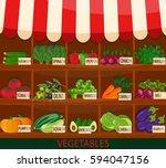 local vegetable stall. fresh...   Shutterstock . vector #594047156