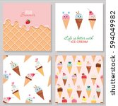 ice cream cute cards and... | Shutterstock .eps vector #594049982