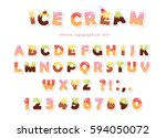 ice cream font. cute wafer... | Shutterstock .eps vector #594050072