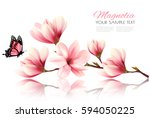 Stock vector nature background with blossom branch of pink flowers and butterfly vector 594050225