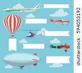 flying planes pulling... | Shutterstock .eps vector #594053192