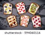 healthy breakfast with toasts.... | Shutterstock . vector #594060116