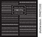 set of vector pattern brushes... | Shutterstock .eps vector #594071102