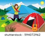alone girl traveling in mountain | Shutterstock .eps vector #594072962