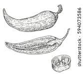 set of vector hand drawn full ... | Shutterstock .eps vector #594073586