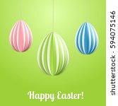 vector happy easter greeting... | Shutterstock .eps vector #594075146