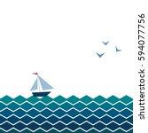 vector banner with waves ...   Shutterstock .eps vector #594077756
