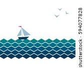 vector banner with waves ... | Shutterstock .eps vector #594077828
