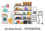 interior of modern storeroom... | Shutterstock .eps vector #594080906
