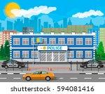 city police station biulding ...   Shutterstock .eps vector #594081416