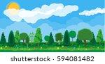 summer nature landscape  forest ... | Shutterstock .eps vector #594081482