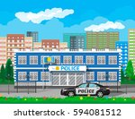 city police station biulding ... | Shutterstock .eps vector #594081512