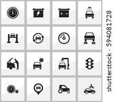 set of 16 editable traffic... | Shutterstock .eps vector #594081728