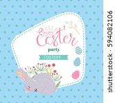 easter frame or banner.... | Shutterstock .eps vector #594082106
