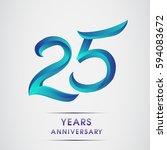 twenty five years anniversary... | Shutterstock .eps vector #594083672