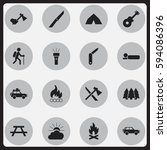 set of 16 editable travel icons.... | Shutterstock .eps vector #594086396