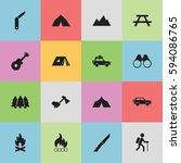 set of 16 editable camping... | Shutterstock .eps vector #594086765