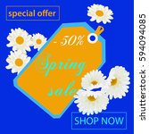 spring sale background with...   Shutterstock .eps vector #594094085