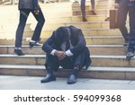 frustrated businessman making a ... | Shutterstock . vector #594099368