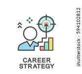 icons of career ladder progress ... | Shutterstock .eps vector #594102812
