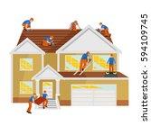 roof construction worker repair ... | Shutterstock .eps vector #594109745