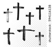 crucifix cross hand drawn paint ... | Shutterstock .eps vector #594116138