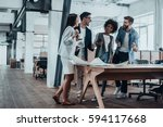 happy to work together. group...   Shutterstock . vector #594117668