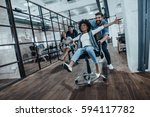 we are the winners   four young ... | Shutterstock . vector #594117782