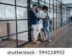sharing fresh ideas. group of... | Shutterstock . vector #594118952