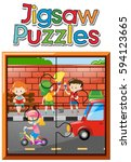 jigsaw puzzle pieces of kids on ... | Shutterstock .eps vector #594123665