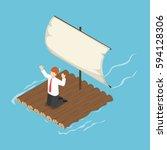 isometric businessman stranded... | Shutterstock .eps vector #594128306