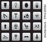 set of 16 editable barber icons....