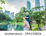father and son travelers in... | Shutterstock . vector #594133826