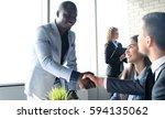 job applicant having interview. ... | Shutterstock . vector #594135062