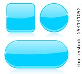 blue buttons. round  square and ... | Shutterstock .eps vector #594141092