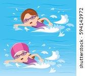 girl swimming in the pool | Shutterstock .eps vector #594143972