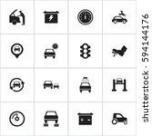 set of 16 editable car icons....