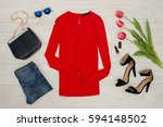 fashion concept. red blouse ... | Shutterstock . vector #594148502