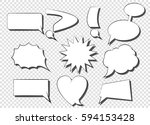 black and white comics bubbles. ... | Shutterstock .eps vector #594153428