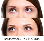 Small photo of Eyelash Extension. Comparison of female eyes before and after.