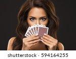 beauty woman is hiding under...   Shutterstock . vector #594164255