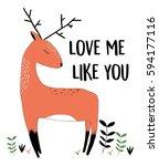 deer illustration for print... | Shutterstock .eps vector #594177116