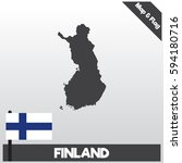 finland map and flag with flat...   Shutterstock .eps vector #594180716