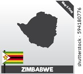 zimbabwe map and flag with flat ...   Shutterstock .eps vector #594180776