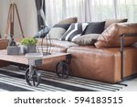 wood center table with wheel... | Shutterstock . vector #594183515